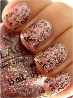 Nail stamp on glitter...I have all these polishes and plates too!