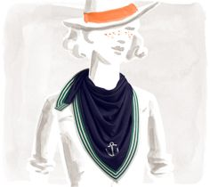 Yachting Silk jersey scarf, hand-rolled, 28 x 28 $490.00