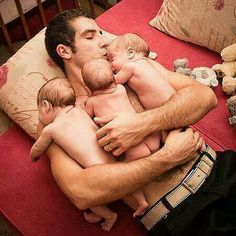 A dad & his triplets! #Fatherhood