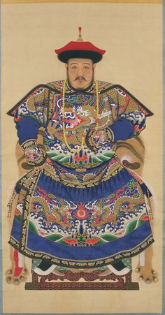 This is a picture of a Qing courtier in winter costume during the Qing Dynasty of the Chinese empire. This piece attempts to show China's military power. Shows vibrant colours. Chinese Artwork, Chinese Painting, Korean Art, Asian Art, Courtier, Art Asiatique, Chinese Clothing, Ancient China, Chinese Style