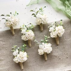 Ivory floral boutonniere, wedding boutonniere, rustic boutonniere, woodland wedding, flower boutonni Rustic Boutonniere, Corsage And Boutonniere, Wedding Boutonniere, Boutonnieres, Corsage Wedding, Flower Bouquet Wedding, Floral Wedding, Bridal Bouquets, Prom Flowers