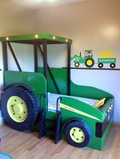 Calling all future farmers! This is a custom made twin size tractor bed. All beds are custom priced based on what you want. Starting price is PAINTED. John Deere Bedroom, Tractor Bedroom, Tractors For Kids, Kid Beds, Boy Room, Kids Bedroom, Kids Rooms, Bedroom Ideas, Tractor Toddler Bed