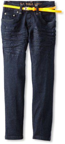 U.S. Polo Assn. Girls 2-6X Skinny Jean With Skinny Neon Belt $16.99
