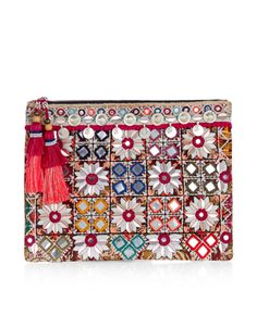 A real statement-making piece, this eclectic clutch bag is decorated with mirrorwork embellishments, disc charms and oversized tassels on the zip. Lined in contrast fabric, this stand-out style is perfectly-sized for essentials and features an internal slip pocket.
