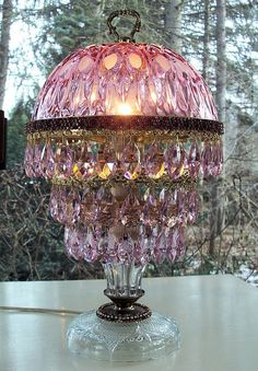 Vintage Jeweled Cranberry Lamp Pink Prisms Made by sheriscrystals, $289.95