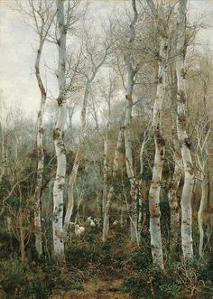 Emilio Sanchez Perrier - Winter in Andalusia (Poplars and Sheep at Alcala de Guadaira) Landscape Art, Landscape Paintings, Forest Landscape, Spanish Artists, Tree Forest, Tree Art, Scenery, Illustration Art, Illustrations