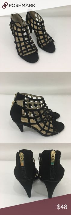 Marc Fisher black sandals heels 7 1/2 Good condition little wear heel 3 1/2 inches Marc Fisher Shoes Sandals