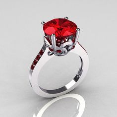 14K White Gold 3.5 Carat Red Rubies Solitaire Wedding Ring - would be great with a high quality pink, orange, black, purple or white stone, too.