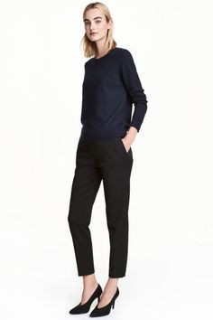 Pull-on trousers: Pull-on trousers in a stretch weave with an elasticated waist, side pockets with a concealed zip, welt back pockets, a fake fly and tapered legs with creases.