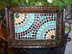 Mosaic design in frame Mosaic Tile Table, Mosaic Tray, Mosaic Glass, Stained Glass, Mosaic Designs, Mosaic Patterns, Sisal, China Crafts, Mosaic Stepping Stones