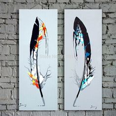 Aliexpress.com : Buy Hot Oil Paintings Handmade Canvas Modern Feather Painting Acrylic Paintings Hang Pictures Wall Abstract Home Decor Picture from Reliable painting suppliers on Shen Zhen Ou Shi Mei Oil Painting Company | Alibaba Group