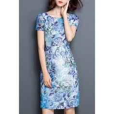 18.47$  Buy here - http://diw79.justgood.pw/go.php?t=179468903 - Chic Women's Jewel Neck Short Sleeve Print Dress 18.47$