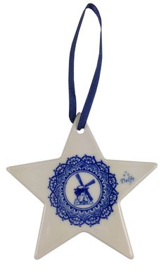 Delft blue chrismas tree decoration with a windmill