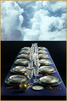 Heaven dining table. (Voyage en Ikat porcelain dinner service. #HermesHome #VoyageenIkat)
