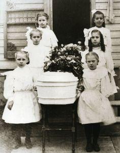 Vintage Funeral Little Girl Pallbearers Little Casket Old Time Funeral Children // Newberry, Michigan U.P.