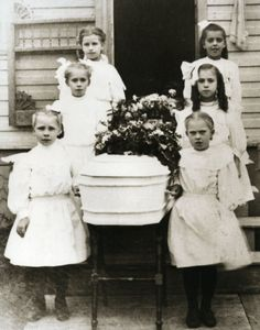 Vintage Funeral Little Girl Pallbearers Little Casket Old Time Funeral Children // Newberry, Michigan U.P.