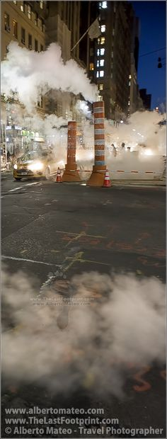 Two steam chimneys in the 42nd street, Chrysler Buidling, New York. | By Alberto Mateo, Travel Photographer.