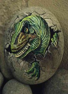 Dinosaur Egg -painted rock
