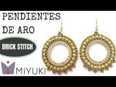 Beading Ideas - How to Stitch Circle Earrings with Miyuki Brick Stitch Earrings, Seed Bead Earrings, Circle Earrings, Seed Bead Bracelets, Seed Beads, Jewelry Making Tutorials, Beading Tutorials, Beading Ideas, Ideas