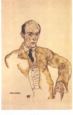 """nickkahler: """" Egon Schiele, Portrait of Arnold Schönberg, 1917 """""""
