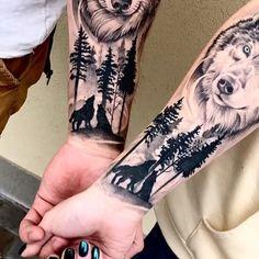 Girl Arm Tattoos, Feather Tattoos, Arm Tattoos For Guys, Dog Tattoos, Couple Tattoos, Animal Tattoos, Tatoos, Wolf Tattoo Forearm, Wolf Tattoo Sleeve