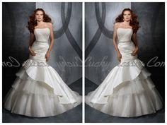 Radiant Rich Satin with Strapless Beading Decoration Artful Mermaid Wedding Dresses