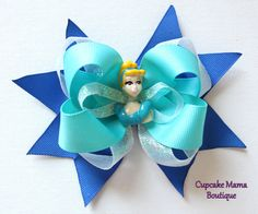 Cinderella Hair Bow: Disney Princess Boutique Hairbow Blue on Etsy, $9.50