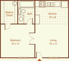 Tiny studio apartments Ideen Apartment Layout 400 Sq Ft The Advantages of a Gas Stove Article Bo The Plan, How To Plan, Apartment Floor Plans, One Bedroom Apartment, Apartment Kitchen, Apartment Entrance, Garage Bedroom, Studio Apartment Layout, Apartment Design