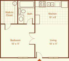 400 sq ft apartment floor plan - Google Search