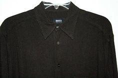 Hugo Boss Mens Long Sleeve Shirt Medium Black with Small Rust Colored Checks | eBay