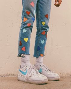 Pin by ally m on shoes in 2019 fashion outfits, fashion, Diy Jeans, Crop Jeans, Painted Jeans, Painted Clothes, Diy Clothing, Custom Clothes, Hip Hop Outfits, Cool Outfits, Stage Outfit
