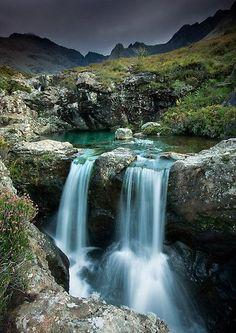 At the Twin Fairy Falls in Isle of Skye, Ireland.