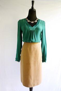 Nordstrom Emerald Green Silk Top - $28