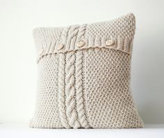Cable knit  pillow cover - ivory decorative pillows case - handmade home decor 16x16 on Etsy, $61.92 CAD