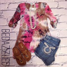 NEW! We love this cute outfit! Tie Dye Tunic $28.99 (small-large) Big Star Shorts $98.00 Sandals $18.99 #bedazzledokc #boutique #okc #shopbedazzled