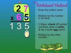 The Turtlehead Method - Double Digit Multiplication (kids LOVED this) Math Skills, Math Lessons, Math Resources, Math Activities, Math Multiplication, Ks2 Maths, Numeracy, Elementary Math, Upper Elementary