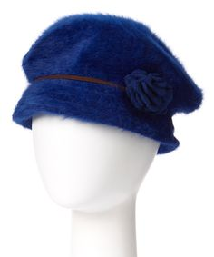 Look at this Downtown Style Cobalt Flower Angora-Blend Cabbie Hat on #zulily today!