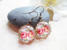 SALE Brass earrings with flower pendants and lace by SelmaDreams