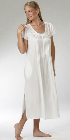 Plus Size to 4X Soft   Easy Cotton Nightgown - Short Sleeve White Gown by La bbde31704
