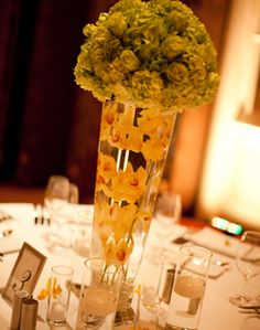 WeddingChannel Galleries: Tall Yellow Centerpieces Yellow Centerpieces, Shades Of Yellow, Wedding Details, Jin, Galleries, Wedding Flowers, September, Fairy, Table Decorations