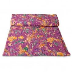 Floral and birds printed kantha stitched handmade beautiful lavender designer cotton export quality bed covers and bed spreads http://radhikatextile.com/home-furnishing/bed-covers/old-kantha-vintage-bed-covers.html?p=2