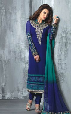 BLUE GEORGETTE EMBROIDRED SALWAR KAMEEZ - SLF 9665