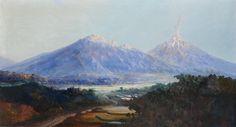 Willem Imandt (1882-1967), 'View on the Bromo vulcano, Java', 80 x 150 cm Imandt was een Zeeuw en geboren in St. Jansteen.