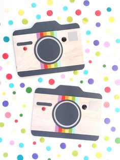 Use the We R Memory Keepers 123 Punch Board (or Envelope Punch Board) to create easy camera shaped cards.