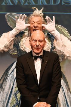 Ian McKellen Plays Fairy Godmother at the Evening Standard Theatre Awards