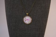 """Joy Inspirational Word Vintage Glass Pendant Necklace Antique Bronze Floral Background 1"""" Cabochon 24"""" Chain by Mckenziepartyof5 on Etsy"""