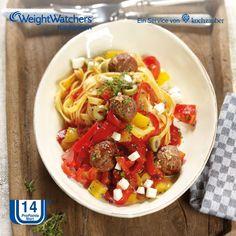 Hackbällchenpfanne Toscana mit Pasta aus der Weight Watchers Kochbox von Kochzauber