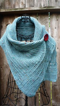 Pattern for buttoned crocheted wrap by redbootyarnworks on Etsy