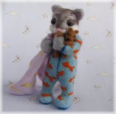Needle Felted Cat - 'The Cat's Pyjamas' Sleepy Kitten in PJs MADE TO ORDER Art Doll Animal Model Kitty