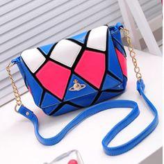 Fashion Zipper Hasp Design and Plaid Print Blue PU Shoulder Bag